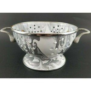 Pottery Barn Marbled Gray Enamel Small Colander